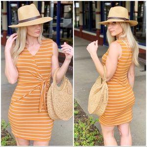 Infinity Raine Dresses - Amber striped tie front dress